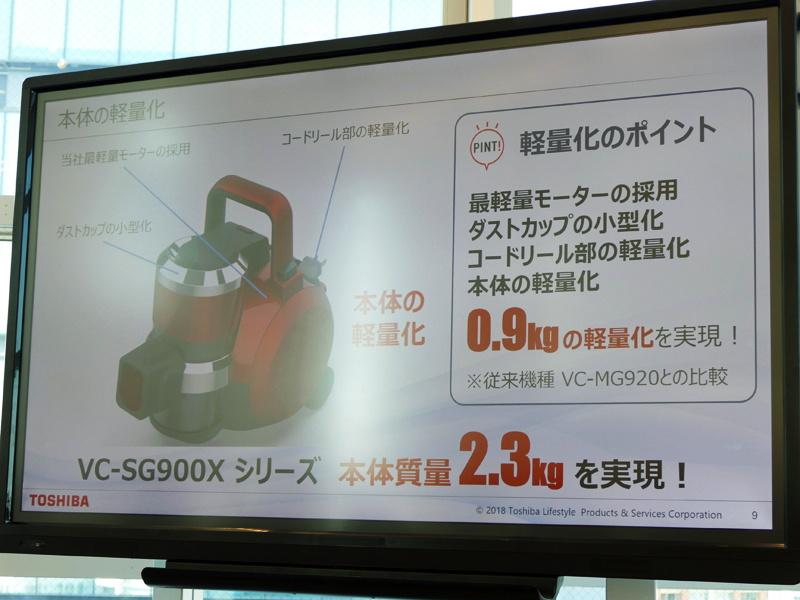 新モーターの採用、内部部品や風路構成などを見直した新設計で本体重量2.3kgを実現