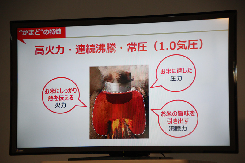 かまど炊きのごはんの特徴として、火力/沸騰力/圧力を挙げていた
