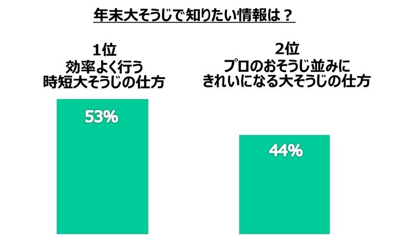 年末大掃除で最も知りたい情報は、「効率良く行なう時短大掃除の仕方」(52.8%)