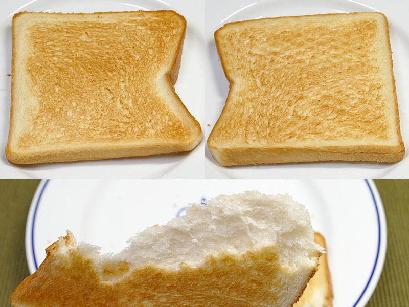 8枚切りの薄い食パンも、スチームで「カリッ、ふわッ」に美味しく仕上がった。半分に割こうとしても真っ二つになりにくいほど、中がモッチリで弾力がある