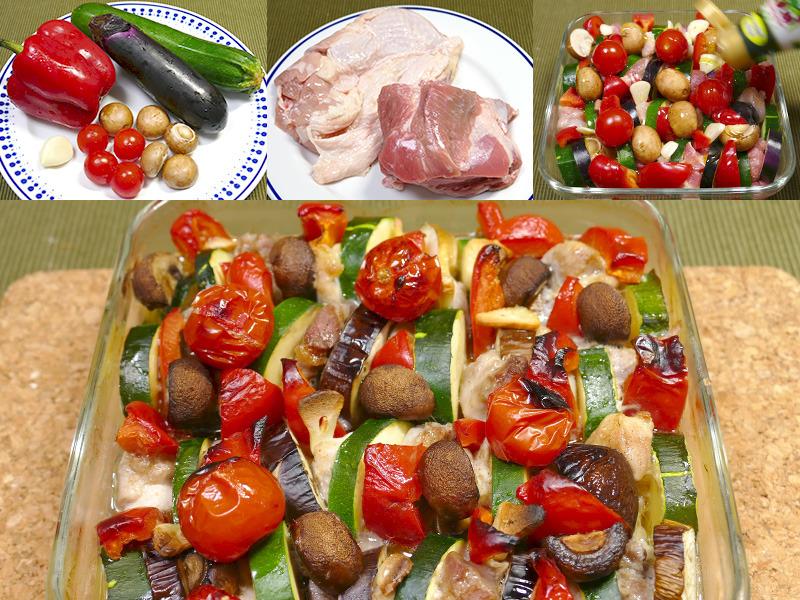 材料は野菜と肉(500g)。すべて一口大に切って塩コショウし、容器にすき間無く詰める。オリーブオイルをかけて調理をスタートする