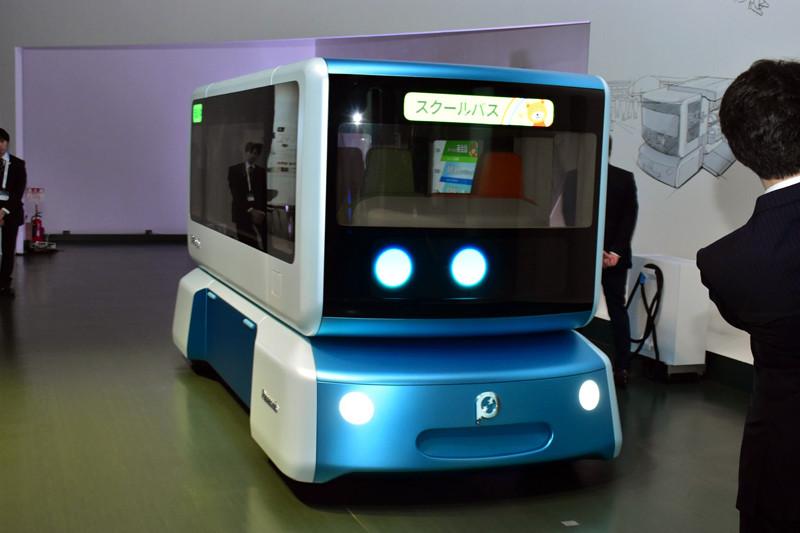 eパワートレインをベースにした、自動運転の電気自動車「SPACe_C」の一例。スクールバスをイメージしたもの