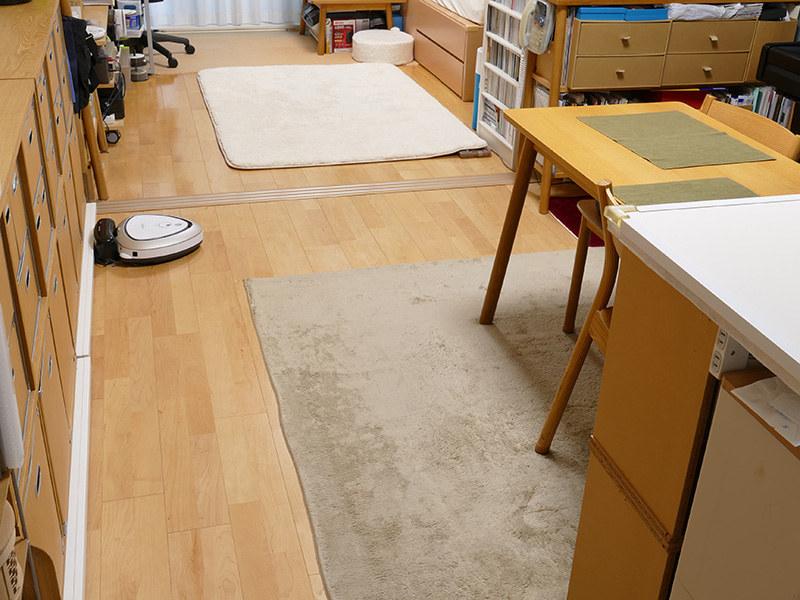 キッチン方面から居室を見た風景。フローリングにラグや絨毯を敷いている