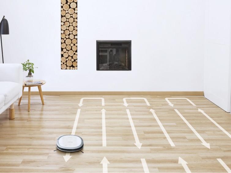 床面を規則正しく隅から隅まで清掃するハードフロアクリーニングモード
