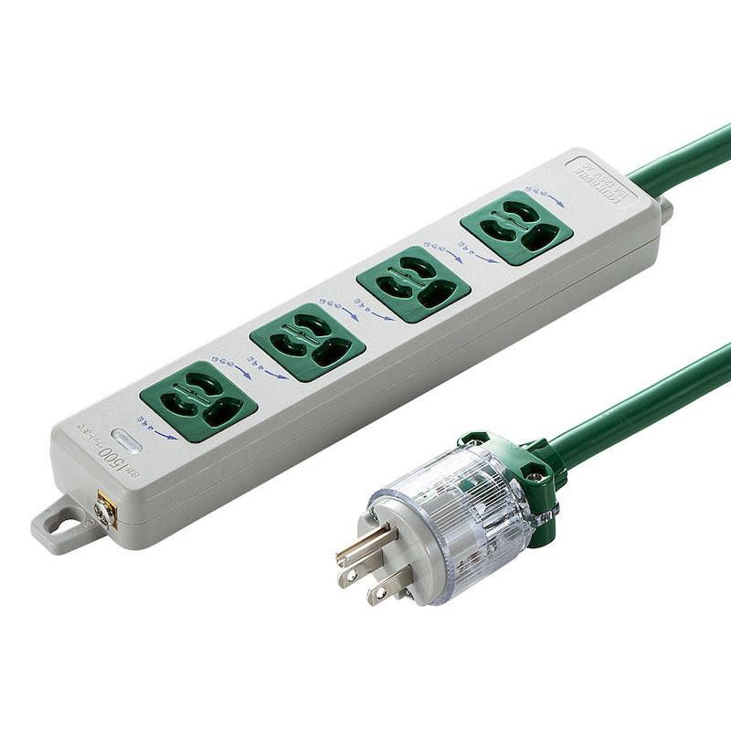医用接地プラグ付き抜け止め電源タップ「TAP-HPM4」(3P・4個口)