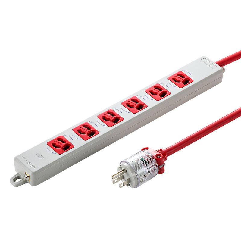 医用接地プラグ付き抜け止め電源タップ「TAP-HPM6」(3P・6個口)