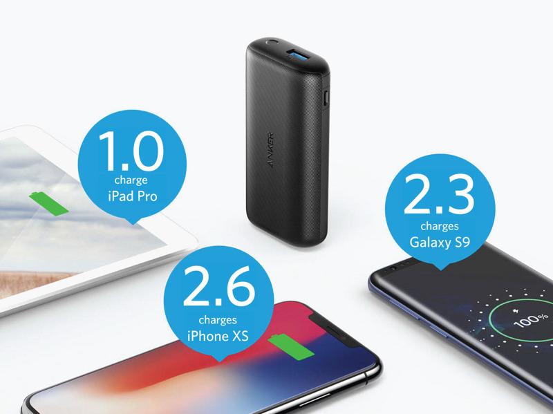 iPhone XS へ約 2.6 回、Galaxy S9 へ約 2.3 回の充電が可能