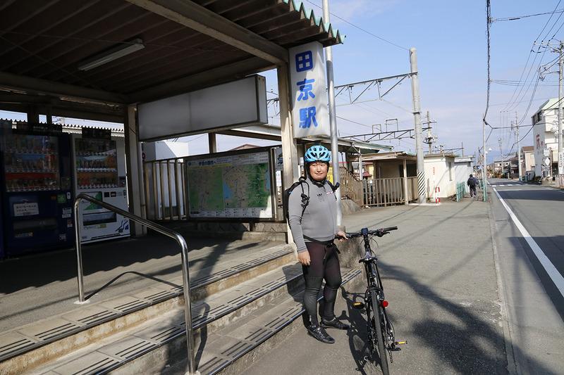 田京駅からはサイクルトレインに乗車