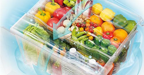 「うるおいラップ野菜室」で、高湿度を保ち野菜を乾燥から守る