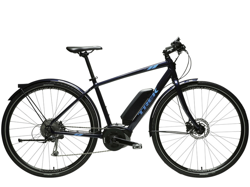 """2017年に登場したトレック初となるe-bike<a href=""""https://www.trekbikes.com/jp/ja_JP/%E3%83%90%E3%82%A4%E3%82%AF/%E3%82%AF%E3%83%AD%E3%82%B9%E3%83%90%E3%82%A4%E3%82%AF/%E9%9B%BB%E5%8B%95%E3%83%8F%E3%82%A4%E3%83%96%E3%83%AA%E3%83%83%E3%83%89%E3%83%90%E3%82%A4%E3%82%AF/verve/verve/p/22262/?colorCode=blue"""" class=""""n"""" target=""""_blank"""">「Verve+(ヴァーヴ プラス)」</a>。こちらもボッシュ製ドライブユニット「Active Line Plus」を搭載する、クロスバイクタイプのe-bike。通勤・通学に便利な埋め込み型前後ライト、フェンダー、キックスタンドなどのアクセサリーを標準で装備。サイズはS/M/Lの3サイズ。価格は23万1,000円(税抜)"""