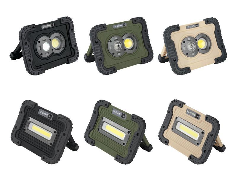 「ポータブルLEDワークライト」。上段が「DAGR(ダグ)」、下段が「NÓTT(ノット)」。カラーはいずれも左から、グレー、オリーブ、サンド