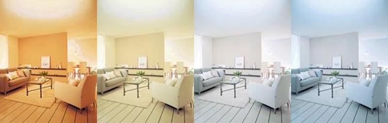 左から「電球色」「温白色」「昼白色」「昼光色」のイメージ