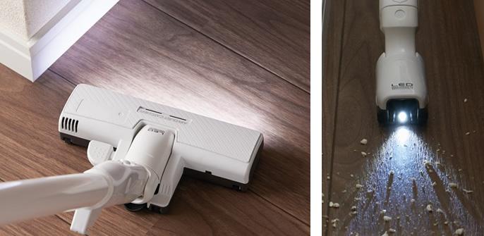 親&子ノズル内蔵のLEDライトが、ゴミを視認しやすくする