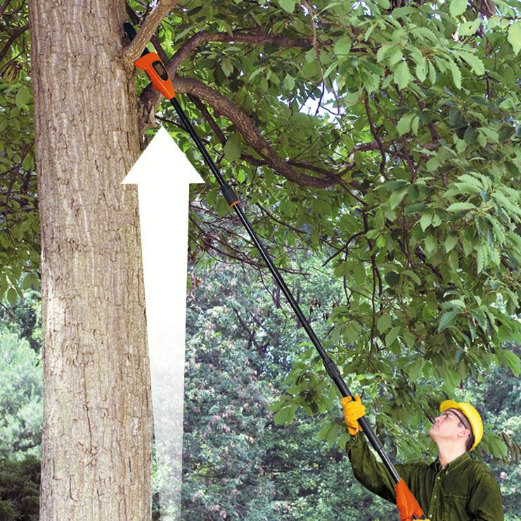 最大3mになるジョイント式のポールを備え、最大4mほどの高さまでチェーンソーが届く