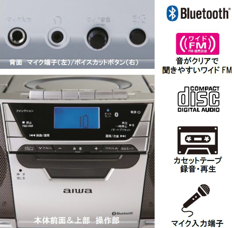 CDボイスカットボタンや、マイク端子を搭載する