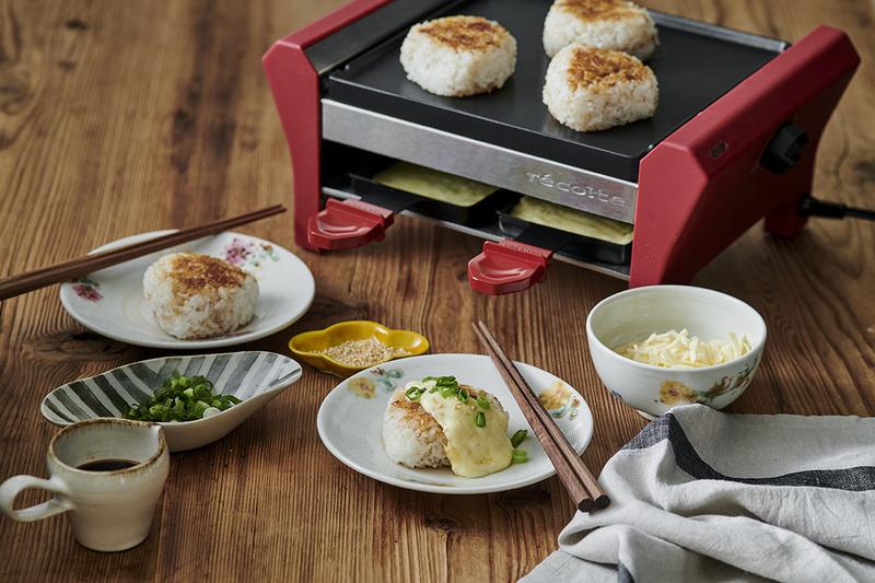 上段ではグリルプレートで食材を焼き、下段では付属のミニパンでチーズを溶かせる