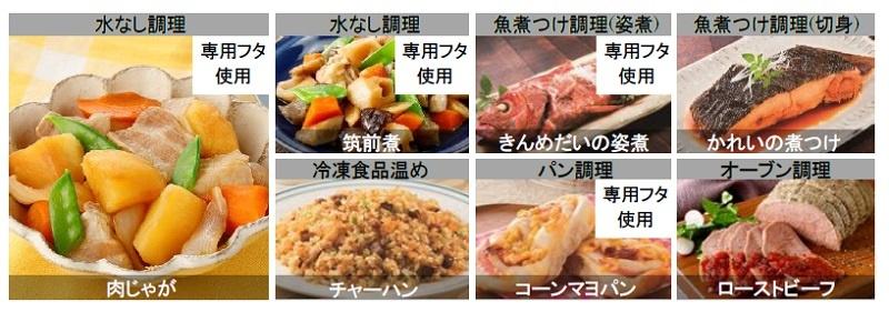 食材が持つ水分と調味料だけで美味しく仕上げる「水なし調理」も新たに採用。オート調理は計148レシピ