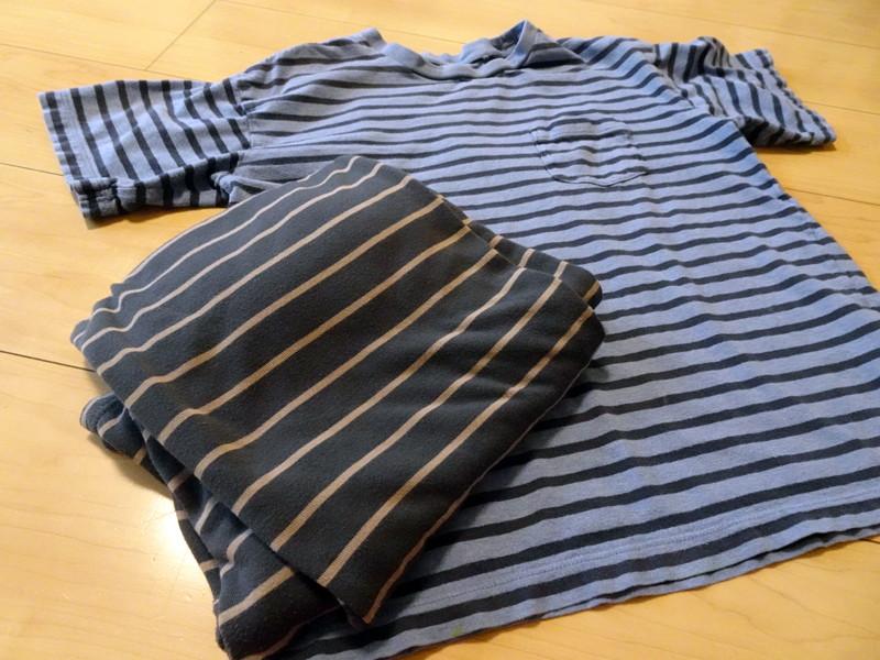 乾燥機でそのまま乾かしたTシャツと部屋着。目立ったシワもなく、まったくヨレヨレしていない。普段着であればアイロンなしでも十分だ