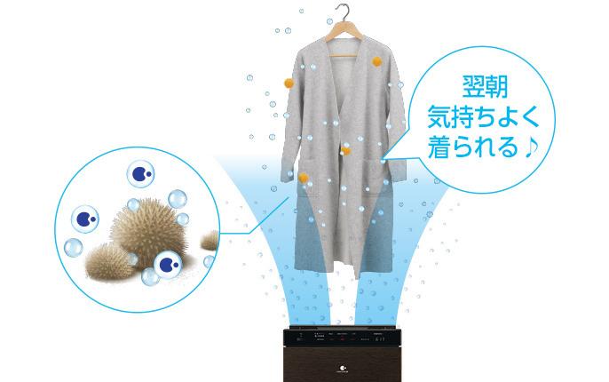 「ナノイーX」専用送風で衣類に付着した花粉を無力化する「花粉クリーニングモード」