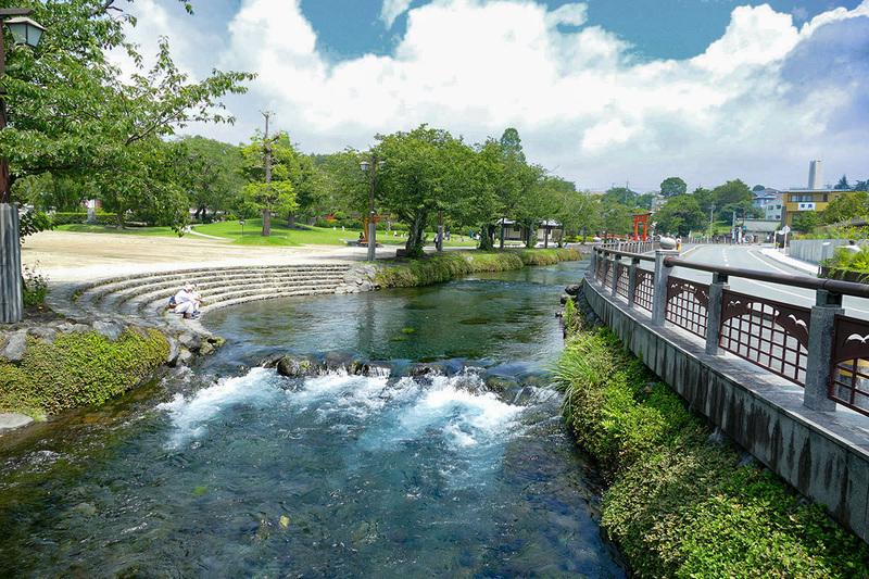 湧玉池からの水は「神田川」となって流れています。泳いでいる人も。それほど澄んだ川です