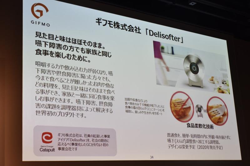 第2弾のギフモは、嚥下障害を持った人でも家族と同じ食事を楽しめる「Delisofter」を事業化する