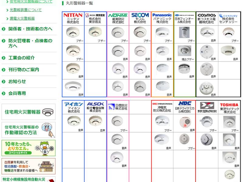 各社の多くの製品について「製品写真」「警報・警告音の説明」「電池の取り外し方法」などを記した一覧をダウンロードできるページ(写真は丸形の一覧)http://www.kaho.or.jp/user/awm/awm09/p03.html