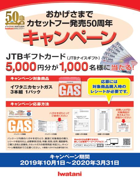 5,000円分のJTBギフトカード(JTBナイスギフト)で、抽選で合計1,000名にプレゼントする