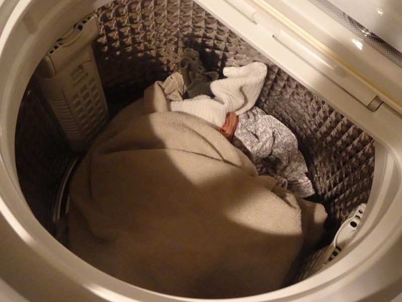 乾燥運転終了直後の洗濯物の様子。垂直方向に衣類を攪拌させるドラム式とは異なり、水平方向にしか回転できない洗濯槽だが、パルセーターを使って上下にもうまく攪拌させている