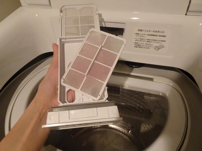 乾燥フィルターは、シンプルな構造で、手入れがしやすい。手前にあるので動線も良い