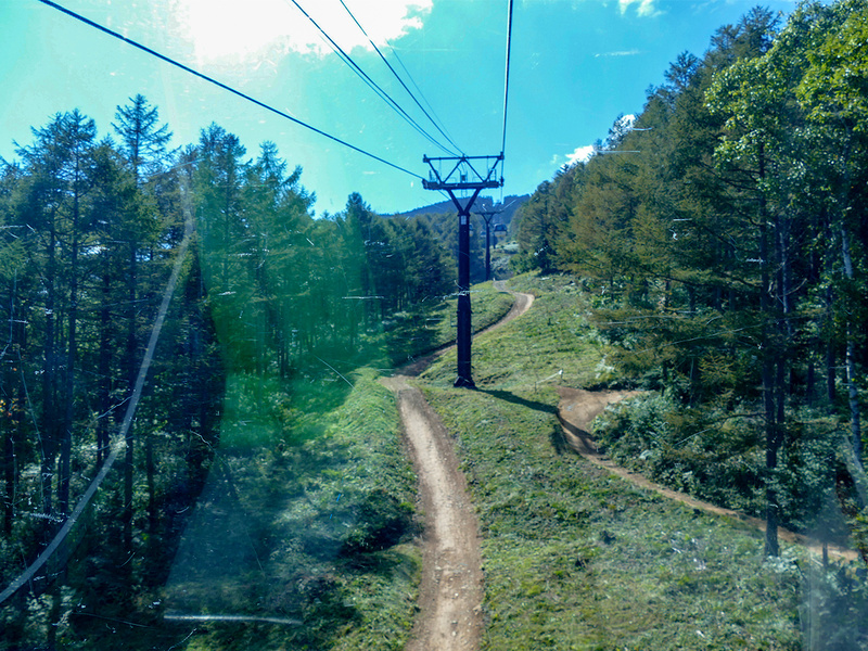 ゴンドラから山肌を見下ろすと道のようなものがありますが、これはダウンヒルコース。上級者コースなどは「信じられないほどの急峻な坂道」です。エクストリーム!
