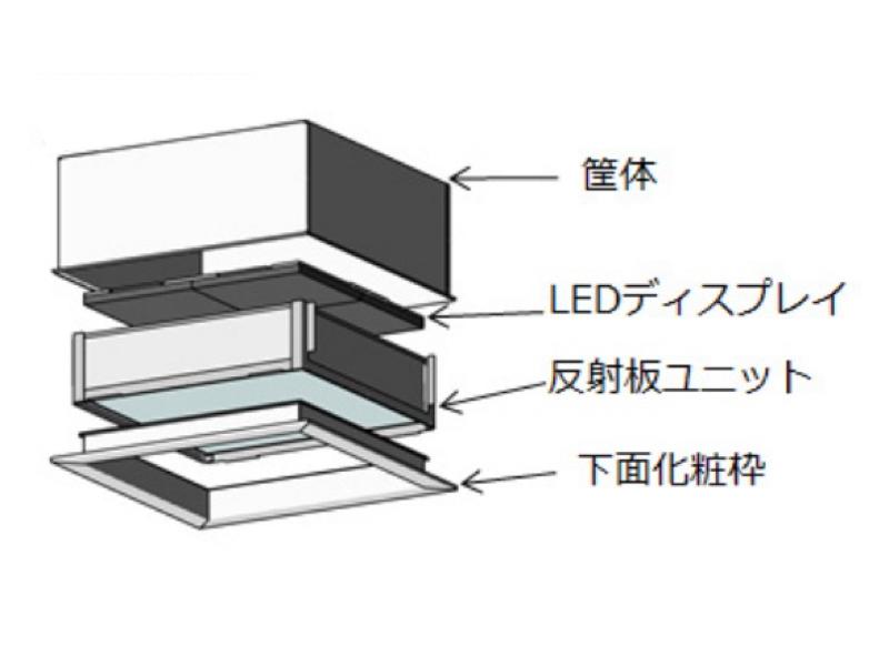 「天窓照明」の構造。天井に埋め込むように設置する。埋込深さは約350mm