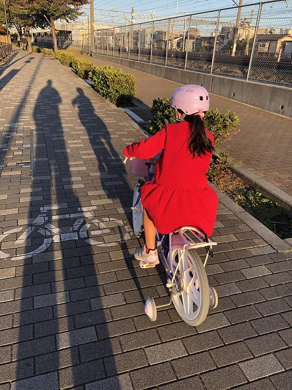 娘は自転車なのでちょっと遠くの公園まで行っている