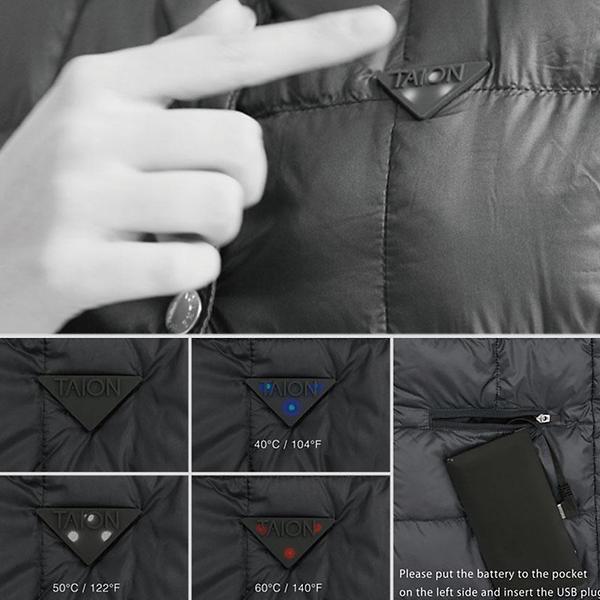 胸のロゴマークでヒーター温度を切り替え可能