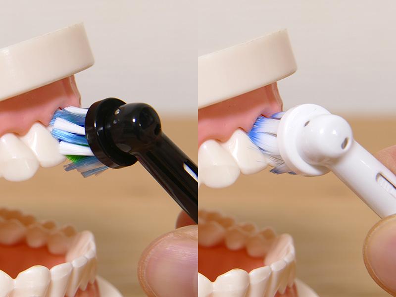 どちらのブラシも歯と歯茎の間に入って歯垢に届きやすい。ブラシを歯に軽く2~3秒当てた後、次の歯にゆっくりと移動させて使う