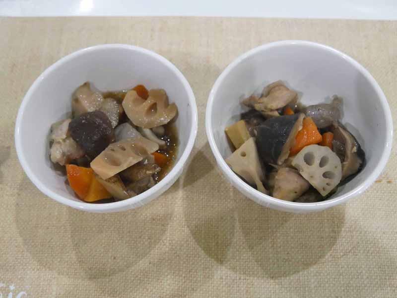電気圧力鍋(左)、ホットクック(右)。ホットクックのほうが全体的に味のムラがない。ただ、電気圧力鍋のほうが食材はやわらかく煮える