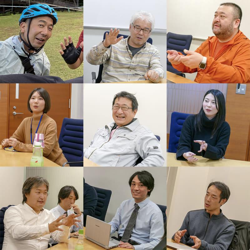 左上から清水・瀬戸・スタパ斎藤、中央左から鄭・藤山・西村、左下から難波・木村・増谷。一人だけヘルメットなのは、みんな話に夢中で写真を撮り忘れたため