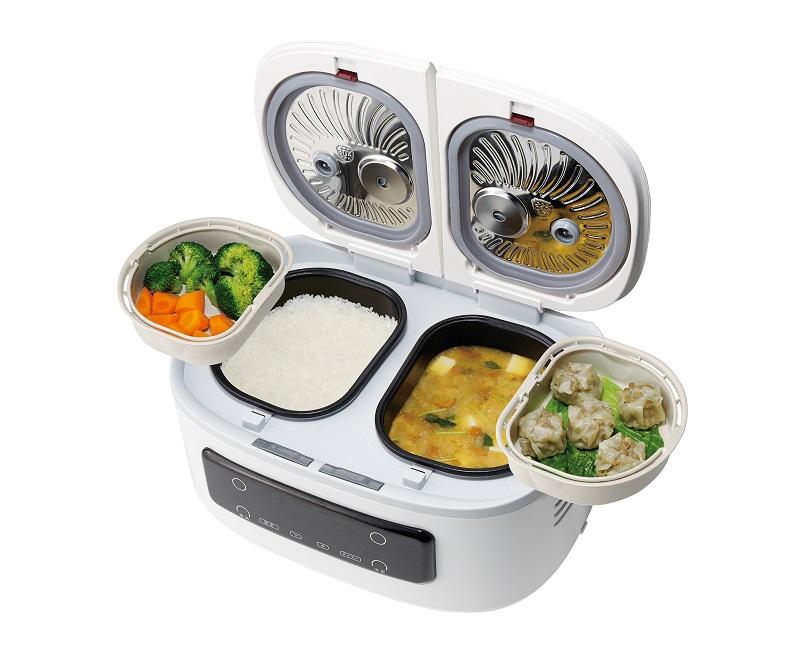 2つの蒸しプレートを使えば、最大4品を同時調理可能