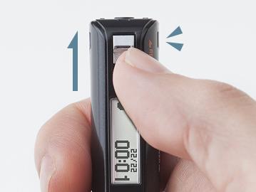 上部スイッチをスライドさせ、電源オフの状態から素早く録音を開始できる