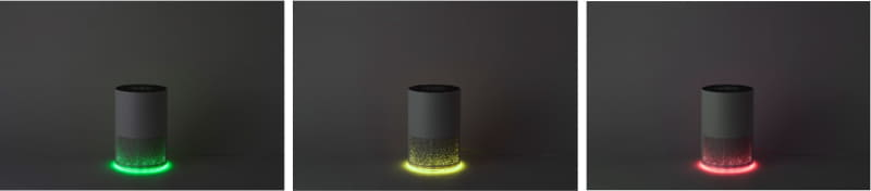 ムードランプボタンを押すと本体下部のランプをOFFにできるほか、同ボタンを長押しすると、ランプが自動で「緑/オレンジ/赤」に切り替わる