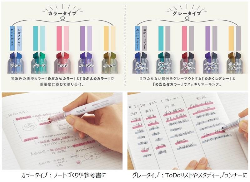 明度、彩度の異なる2色で重要な部分を目立たせながら、ノートをすっきりまとめられる