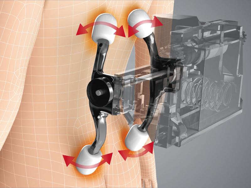 4つのもみ玉で肩甲骨から腰まで広範囲のコリをもみほぐす「背腰メカ」。4種のもみ技(もみ、たたき、さざなみ、背すじ伸ばし)から選択可能で、もみ玉の幅調整(たたきのみ適用)や上下の範囲を調節できる