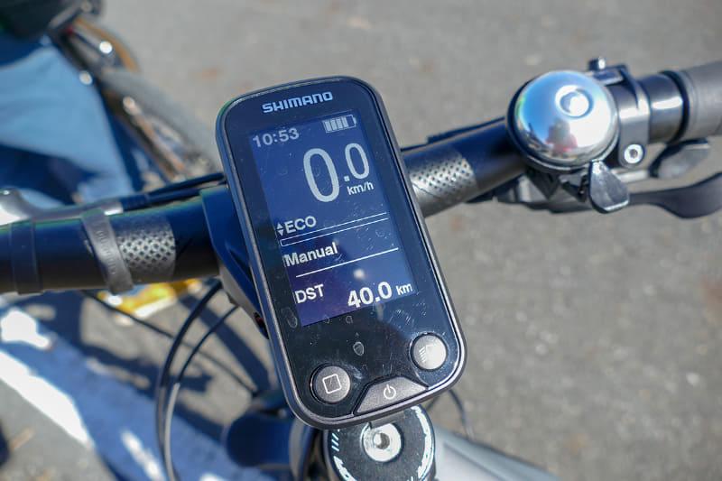 40km地点。40km手前でバッテリーの目盛りがようやく1つ減る