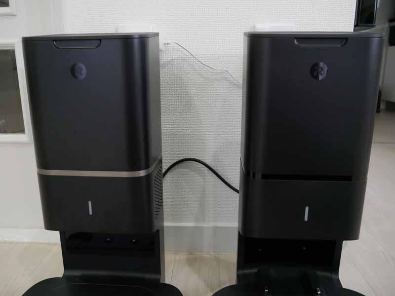 クリーンベースはデザインも少し異なる。左がs9+、右がi7+。ラインが入っており、高級感がある