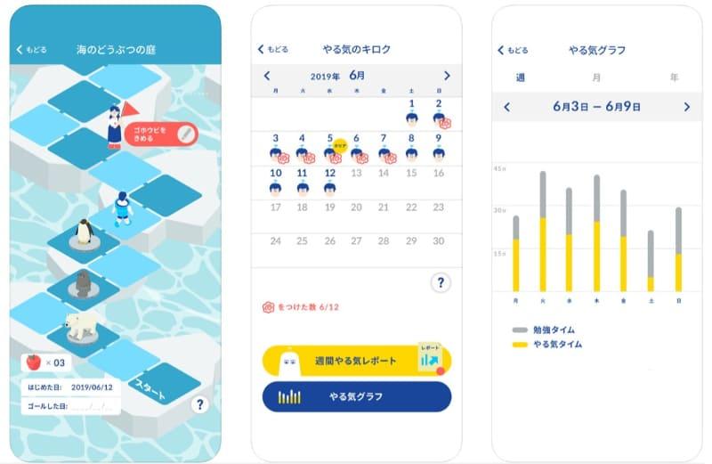 日々の学習の記録を、ゲームやカレンダー、グラフで確認できる