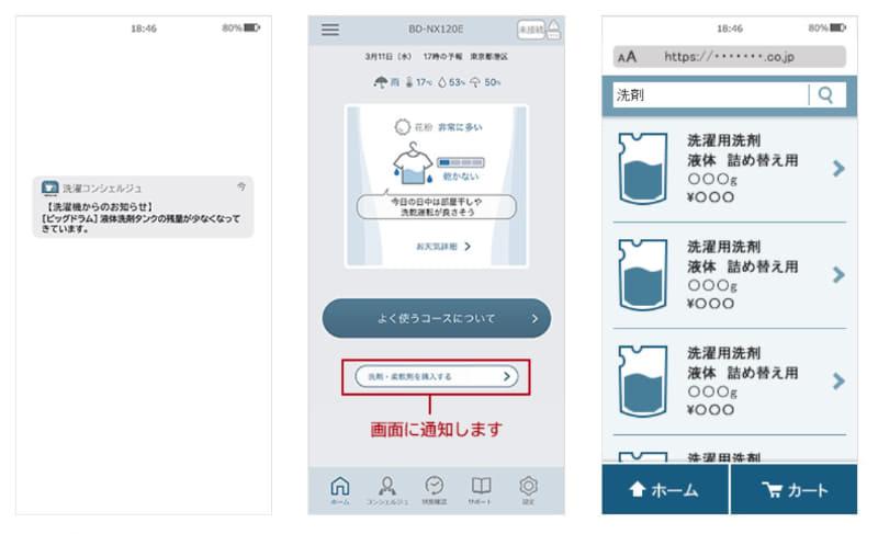 洗剤・柔軟剤のタンク内残量が少なくなると、スマートフォンへプッシュ通知してくれ、スムースに購入できる
