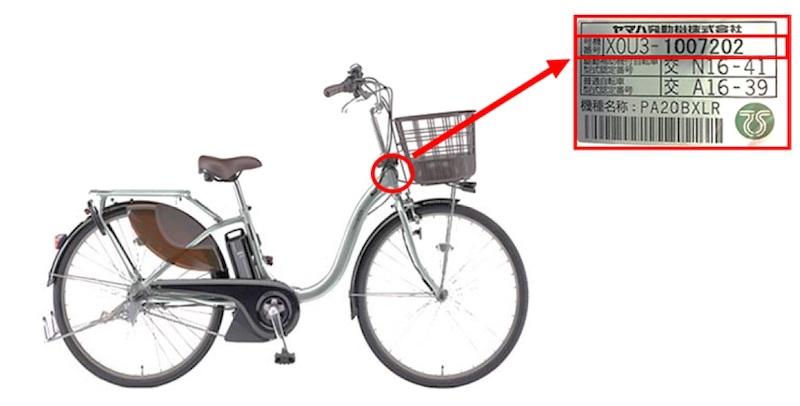 対象製品の確認方法は、フレームに貼り付けられている車両号機ラベルで行なう