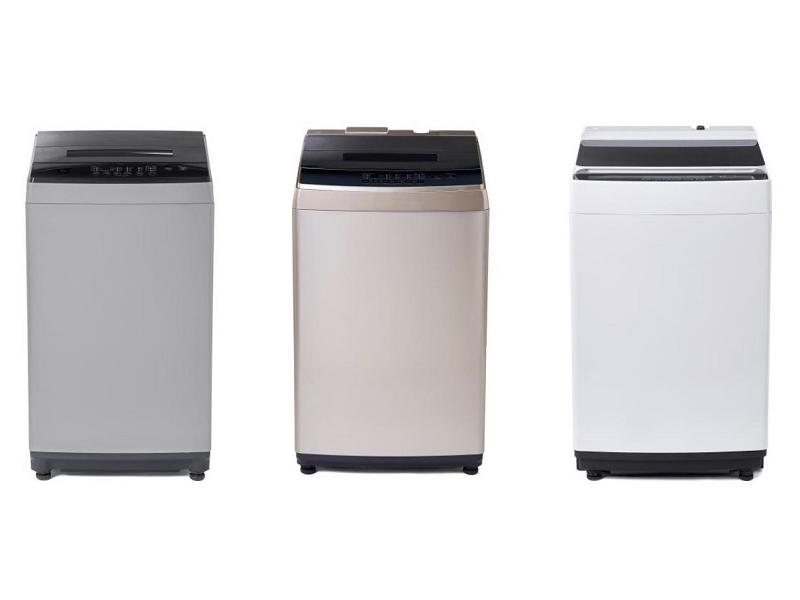情熱価格ブランドの全自動洗濯機。左から「DAW-A60」「DAW-A80」「DAW-A100」