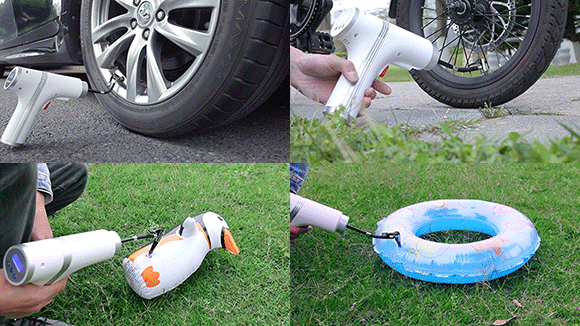 自転車、自動車やバイクのほか、浮き輪やボールなどに対応する3種のアタッチメントを付属