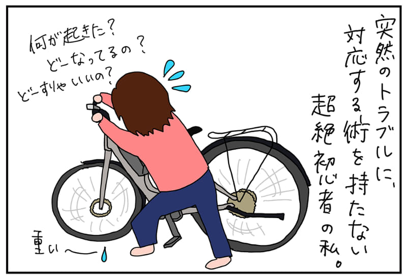 久々に泣きそうになった。自転車押して歩くこと1時間