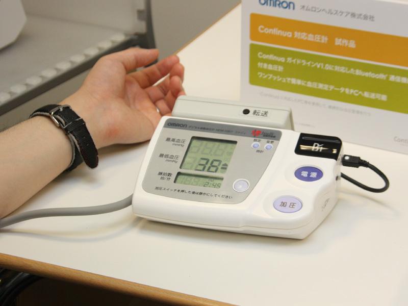 血圧計では計測終了後に「転送」ボタンが必要